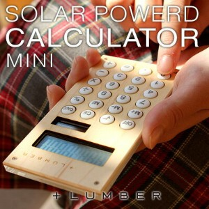 ■【+L MINI】木製ソーラー電卓「SOLAR POWERED CALCULATOR MINI」