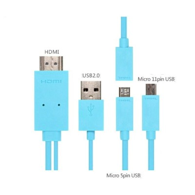 【MHL 全スマホ対応】 MicroUSB to HDMI /USB 変換ケーブル 2m☆6色選択可能(For galaxyS5/S4/S3/S2/NOTE3/2/NOTE/HTC/Xperia...