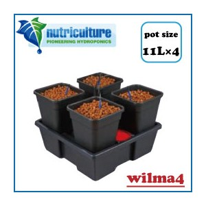 LEDも使える 水耕栽培 キット New nutriculture wilma4 ポット容量11Lで最大4株まで栽培可能な水耕栽培 キット Hydro Systems