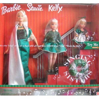 "Holiday Singing Sisters Barbie バービー Stacie Kelly Dolls ""Sing"" ""Deck The Halls"" (2000) 人形 ド"