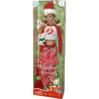 Barbie バービー Christmas Morning Holiday Doll 2008 with Santa Hat, Pajamas, Fur Slippers, Hairbru