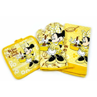 Disney 【Kiss the Cook Minnie キッチン3点セット:キッチン用タオル、鍋敷き、ミット】