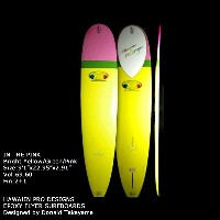"サーフボード ドナルド・タカヤマ HAWAIIAN PRO DESIGNS IN THE PINK 9'1"" Bright Yellow Green Pink (AHE0217)ロングボード..."
