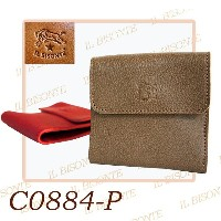 IL BISONTE【イルビゾンテ】二つ折り財布 LEATHER WALLET レザー 本革 カードケース 【イタリア本国 正規品】model-C0884-P (245)RUBY RED/(618...
