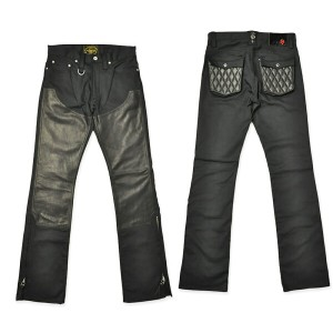 "p10【SKULL FLIGHT スカルフライト】ボトム/SS PANTS type2 ""STRETCH QUILTING LEATHER POCKET & W KNEE"" (ブーツカット) ★送料..."