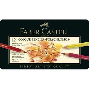 【FABER-CASTELL】ポリクロモス色鉛筆セット12色缶入 9210