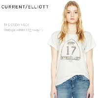 【SALE】CURRENT ELLIOTT(カレントエリオット)THE CREW NECK Vintage White Highway 17Tシャツ/グラフィックプリント