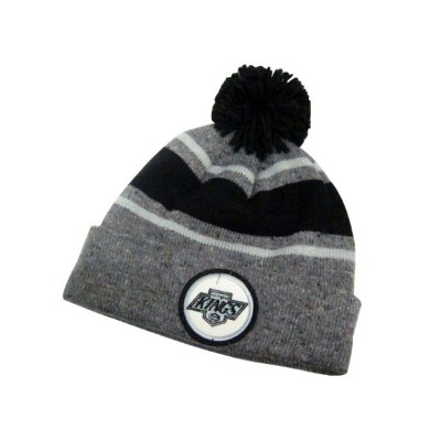 MITCHELL&NESS SPECKLED CUFFED POM KNIT CAP (NHL/Los Angeles Kings: Black×Gray)ミッチェル&ネス/ニットキャップ/黒×グレー