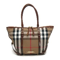 バーバリー BURBERRY 3882055 2001T BRIDLE HOUSE CHECK SMALL SALISBURY TOTE ジップトートバッグ DARK TAN ブラックチェック【c】...