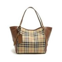 バーバリー BURBERRY 3939377 7050B HORSEFERRY CHECK SMALL CANTERBURY PANELS TOTE オープントートバッグ HONEY TAN...