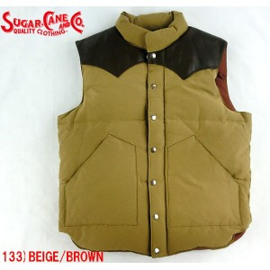No.SC12340 SUGAR CANE シュガーケーンCOTTON/NYLONLEATHER YOKE DOWN VEST