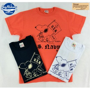 "No.BR76844 BUZZ RICKSONS × PEANUTSS/S T-SHIRT""U.S.Navy"""