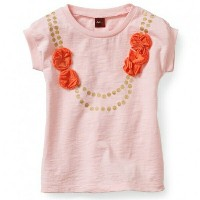 Tea Collection Tシャツ 半袖 ピンク だまし絵 ネックレス グラフィック 春夏 Marigold Necklace Graphic Tee 海外 プリント ベビー赤ちゃんキッズ子供...