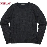 REPLAY/リプレイ UK1229 PULLOVER WITH GEOMETRIC PATTERN AND FOIL FINISH モヘアウールセーター DARK BLUE+BLACK FOIL...
