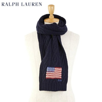 "POLO by Ralph Lauren ""USA FLAG"" Scarf ラルフローレン アメリカ国旗刺繍 スカーフ マフラー"