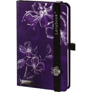 Lany book『Sparkling Flowers(Viola/Bianco + Nero)』A6サイズ【Made in italy】《送料無料》《後払い対応》【文房具 文具 ステーショナリー...