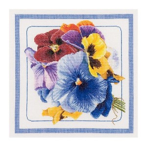 Thea Gouverneur クロスステッチ刺繍キットNo.435 「Pansies」(パンジー 花) オランダ テア・グーヴェルヌール 【取り寄せ/納期40~80日程度】