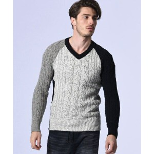 【wjk】6812 kw44e-powder mix cable knit V/N ニット