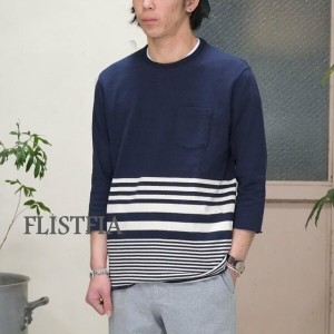 FLISTFIA(フリストフィア)/3/4 Sleeve Border T-Shirts -NAVY x Off White -
