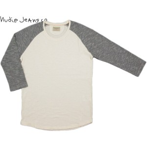 "Nudie Jeans co/ヌーディージーンズ QUARTER SLEEVE TEE""CONTRAST""7分袖ラグランカットソー/ラグランベースボールTEE OFFWHITE/BLACK..."