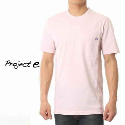 【CLEARANCE SALE】プロジェクトe Project e クルーネック ポケット付き 半袖 Tシャツ ダメージ加工 ピンク mtp-pink