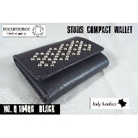 【SALE】【recurrence/リクレンス】Italy Leather Studs Compact Wallet/イタリアンレザー・スタッズ 三つ折り財布 -全1色-【スタッズ付】