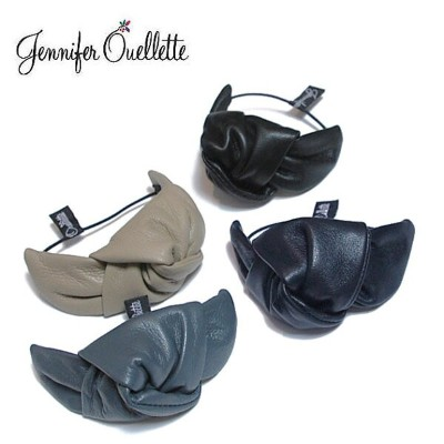 ★≪Jennifer Ouellette≫ ジェニファー・オーレット全4色 レザー リボン ヘアゴム Bow with Leather Pony Hair tie【レディース】【楽ギフ_包装】