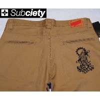 SubcietyサブサエティWORK PANTS -CLASSIC- EMBROIDERY(PRAYING HANDS)BEIGE