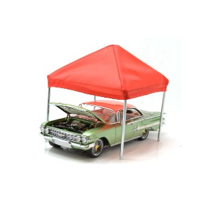 "AMERICAN DIORAMA 1:24SCALE ""ACCESSORY CANOPY SET""TENT(BLUE&RED) アメリカンジオラマ 1:24スケール 「アクセサリー キャノピー..."