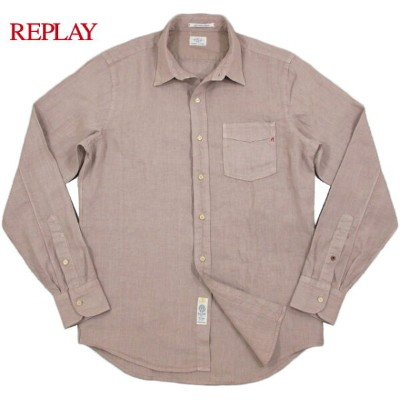 【SALE】30%OFF★REPLAY/リプレイ MEN'S LINEN SHIRT ワンポイント刺繍入り、長袖リネンシャツ/麻シャツ D.PINK(ダークピンク)/M4902