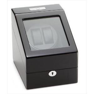 Diplomat ディプロマット ウォッチワインダー Black Wood Double Watch Winder with Black Leather Interior and 4 Program...