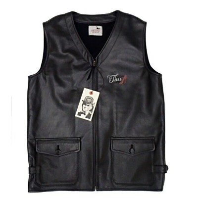"GLAD HAND GANGSTERVILLE ギャングスタービル メンズ レザーベスト 【黒/茶2色展開】 THUG VEST ""COW HIDE"" 【GSV16AW07 17aw07】"