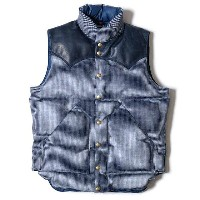WAREHOUSE ウエアハウス × Rocky Mountain Feather Bed ロッキー マウンテン WH CHECK DOWN VEST INDIDO/NAVY チェック ダウンベスト...