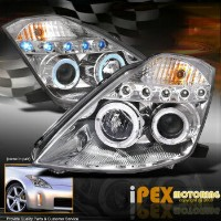 日産 フェアレディー Z ヘッドライト For 2003 2004 2005 Nissan 350Z Z33 Dual Halo Rim Projector LED Headlights...
