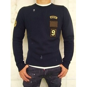 "MARC JACOBS(マーク ジェイコブス)【PATCHES SWEATER】""SLIM FIT""ワッペン付き""デストロイ""KNIT★BLUE NAVY★"