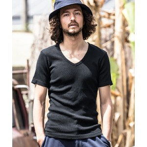 【CAMBIO(カンビオ)】Rib Stitch V-Neck Short Sleeve Tシャツ(MADE IN JAPAN)