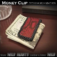 パイソン 錦蛇 マネークリップ マグネットクリップMagnetic Money Clip Genuine Red Python/Snake Skin Leather WILD HEARTS...