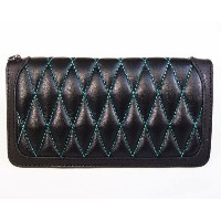 KUSTOMSTYLE DIAMOND WALLET BLACK/BLACK GREEN STITCH ボタンなし