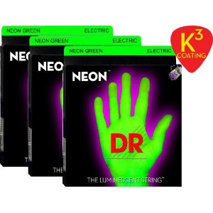 【 並行輸入品 】 3 Sets of DR NGE10 Hi-Def NEON GREEN Coated Medium Electric Strings (10, 13, 17, 26, 36,...