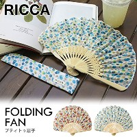 RICCA FOLDING FAN プティトゥ扇子 FLOWER-WHITE