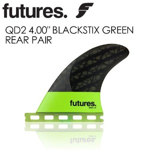 "FUTUREFINS フューチャーフィン QD2 4.00"" BLACKSTIX GREEN REAR"