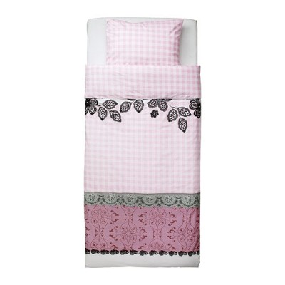 Ikea Mystisk Twin Duvet Cover and Pillowcase, Lace Pink