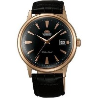 オリエント Orient ER24001B Men's Bambino Automatic Black Dial Rose Gold Tone Leather Strap Mechanical...