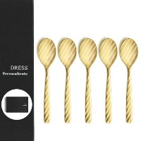Perrocaliente 100% DRESS Gold カトラリーセット [ Tea Spoon Set / 市松GD ] 5本セット ギフトボックス入り