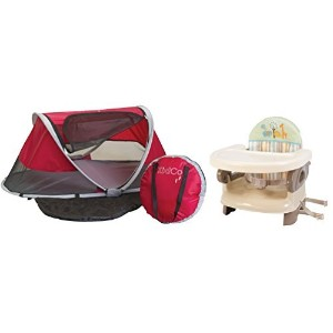 KidCo PeaPod Portable Travel Bed with Deluxe Comfort Booster Seat, Cranberry by KidCo [並行輸入品]