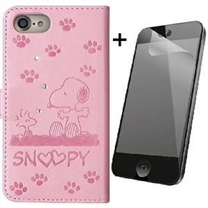 iPhone8 iPhone7 iPhone6S/6専用 手帳型ケース スヌーピー SNOOPY ウッドストック ラインストーンデコ 液晶保護フィルム付き (ピンク)