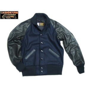 SKOOKUM(スクーカム)/BASEBALL AWARD JACKET(スタジャン)/navy x black