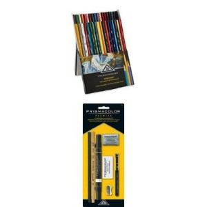 Prismacolor プリズマカラー ベリシン 硬芯 色鉛筆 36色 スターターキット 7品アクセサリー Verithin Coloured Pencils, Assorted Colours,...