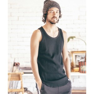 【ANGENEHM(アンゲネーム)】1712-312AN-High Density Waffle Long Length Tank top タンクトップ(MADE IN JAPAN)