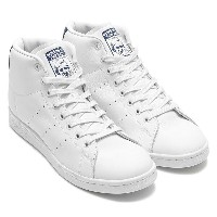 adidas Originals STAN SMITH MID (アディダス オリジナルス スタンスミス ミッド)(Running White/Running White/Dark Blue) ...